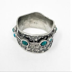 925 Sterling Silver Turquoise Wide Spinner Ring